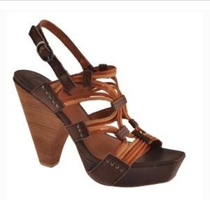 Lucky Brand Rana Leather Stacked Heel Sandals